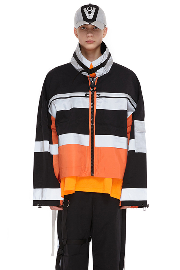 SCOTCHLITE BIG LOGO ZIPUP JACKET (ORANGE)