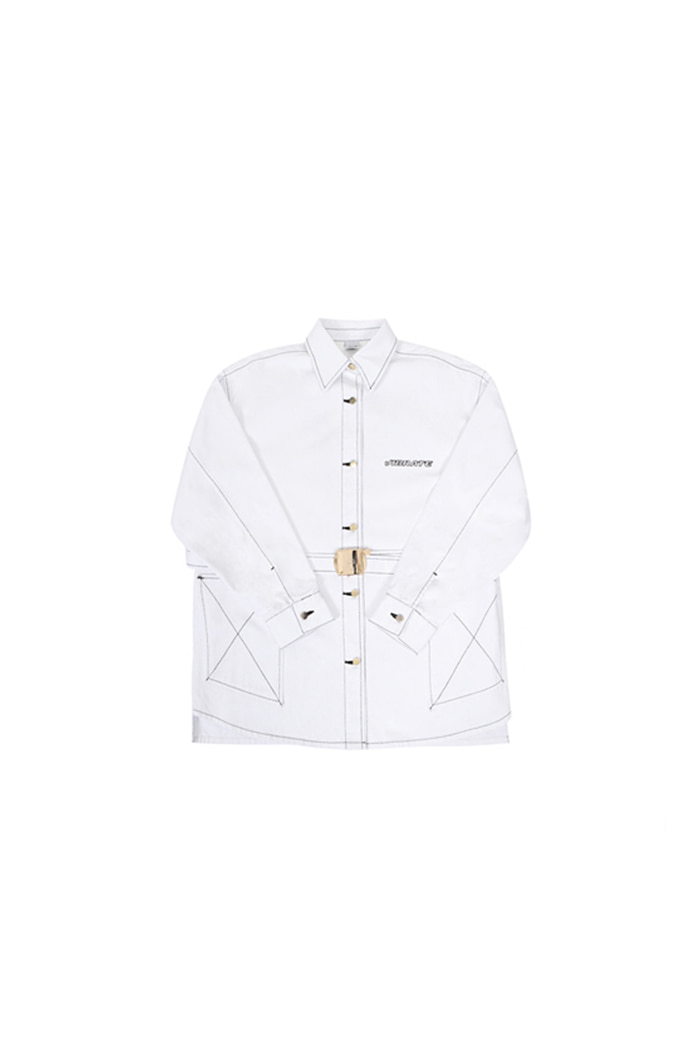 GOLDLINE BELT CROSS COTTON JACKET (WHITE)