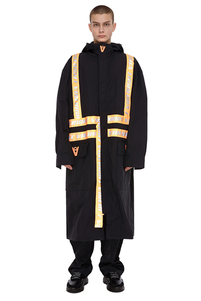 ORANGE SCOTCHLITE BIG LOGO LONG JACKET (BLACK)