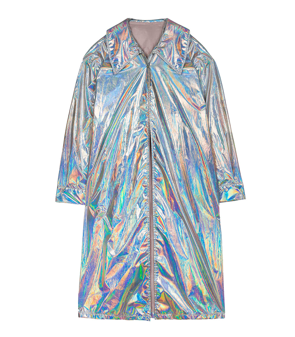 FANCY LONG COAT JACKET (RAINBOW HOLOGRAM)