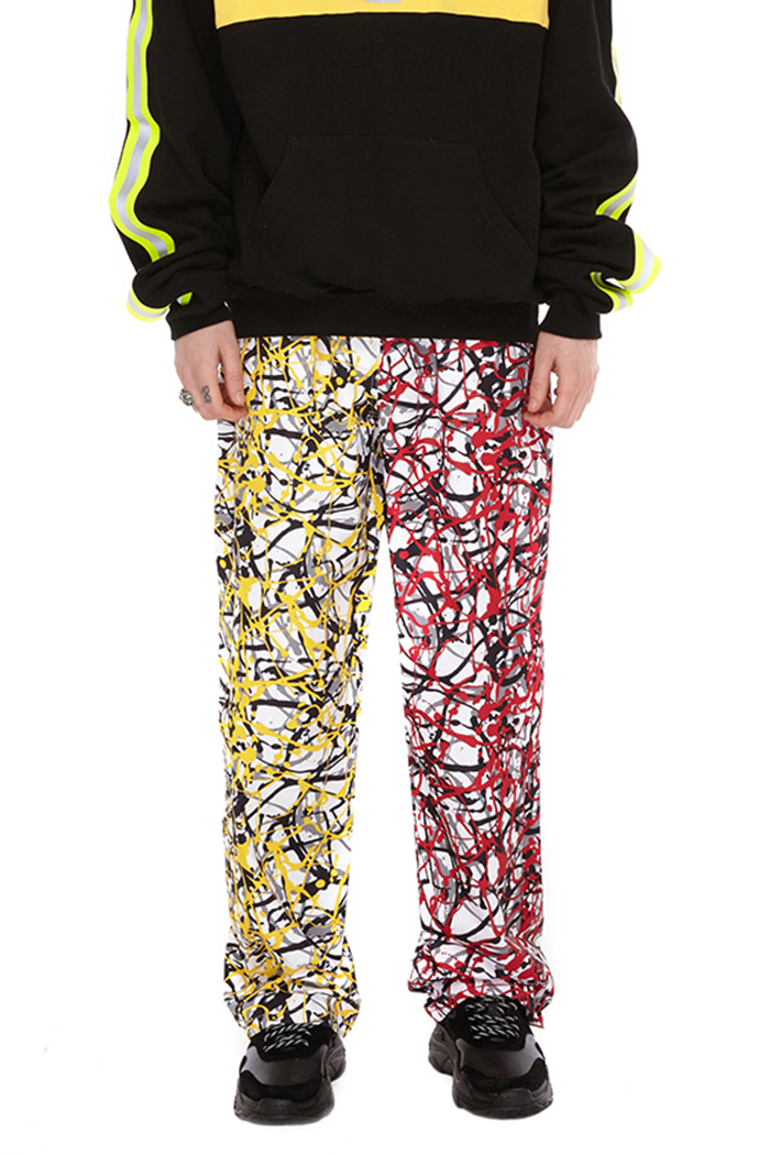 COLOR BLOCK PANTS (YELLOW & RED CAMO)