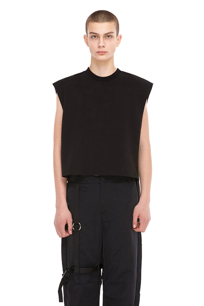 SIDE ZIPPER SLEEVELESS SHIRT (BLACK)