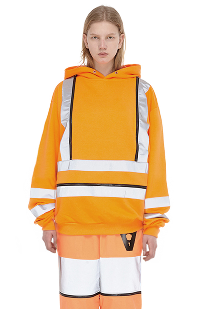 DOUBLE SCOTCHLITE LINE HOODIE (ORANGE)