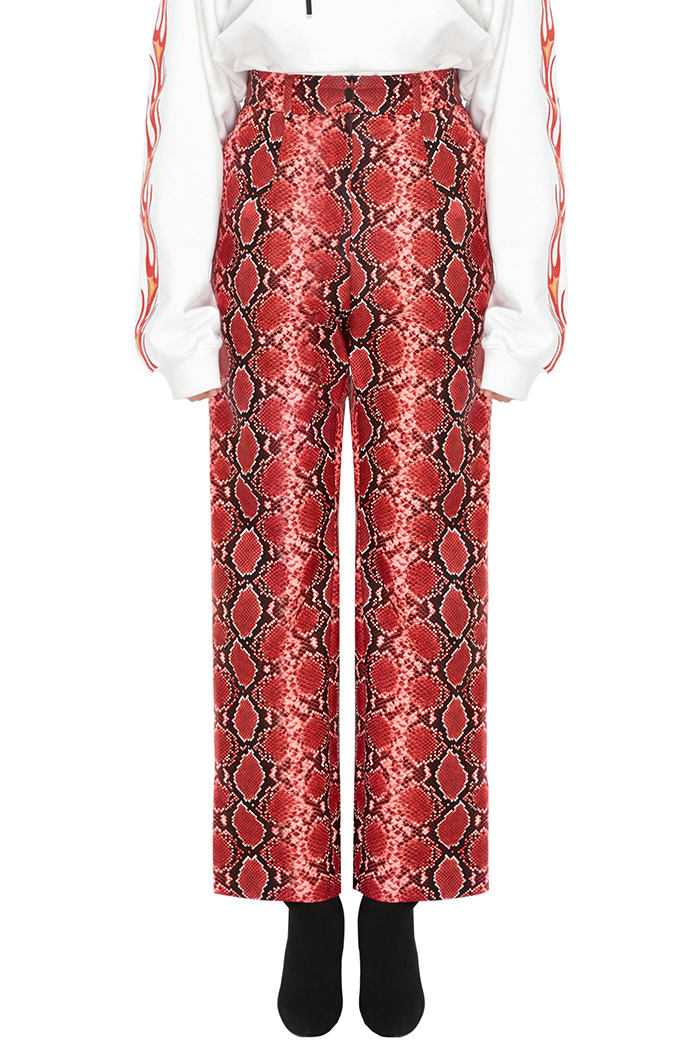 FAUX-PYTHON WIDE PANTS (RED)