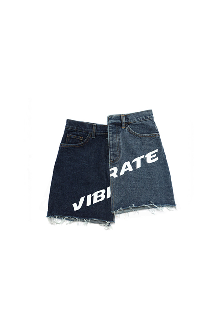UNBALANCE COLOR SCHEME SHORT SKIRT (DENIM)