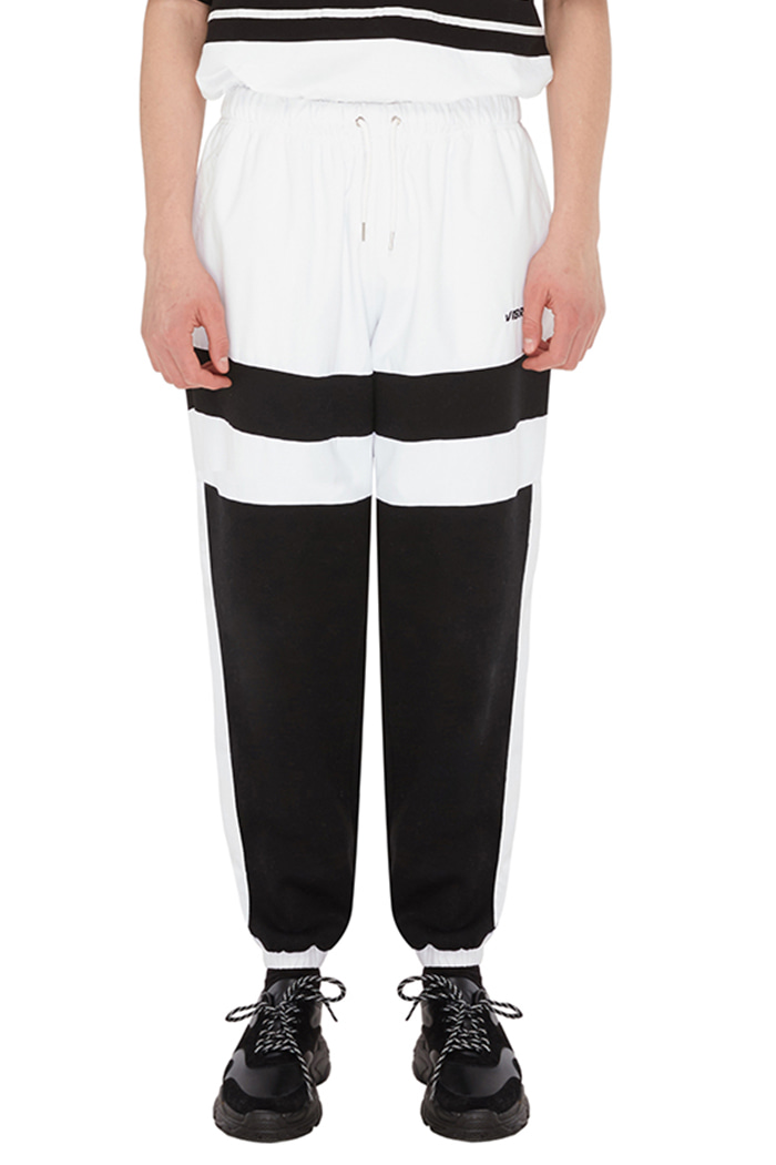 LINE COLOR SCHEME JOGGER PANTS (WHITE&BLACK)