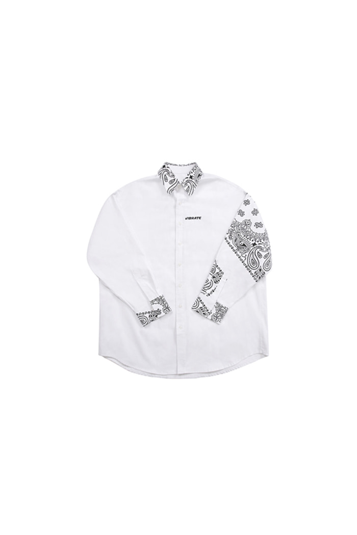 VIBRATE - PAISLEY OVER SHIRTS (WHITE)