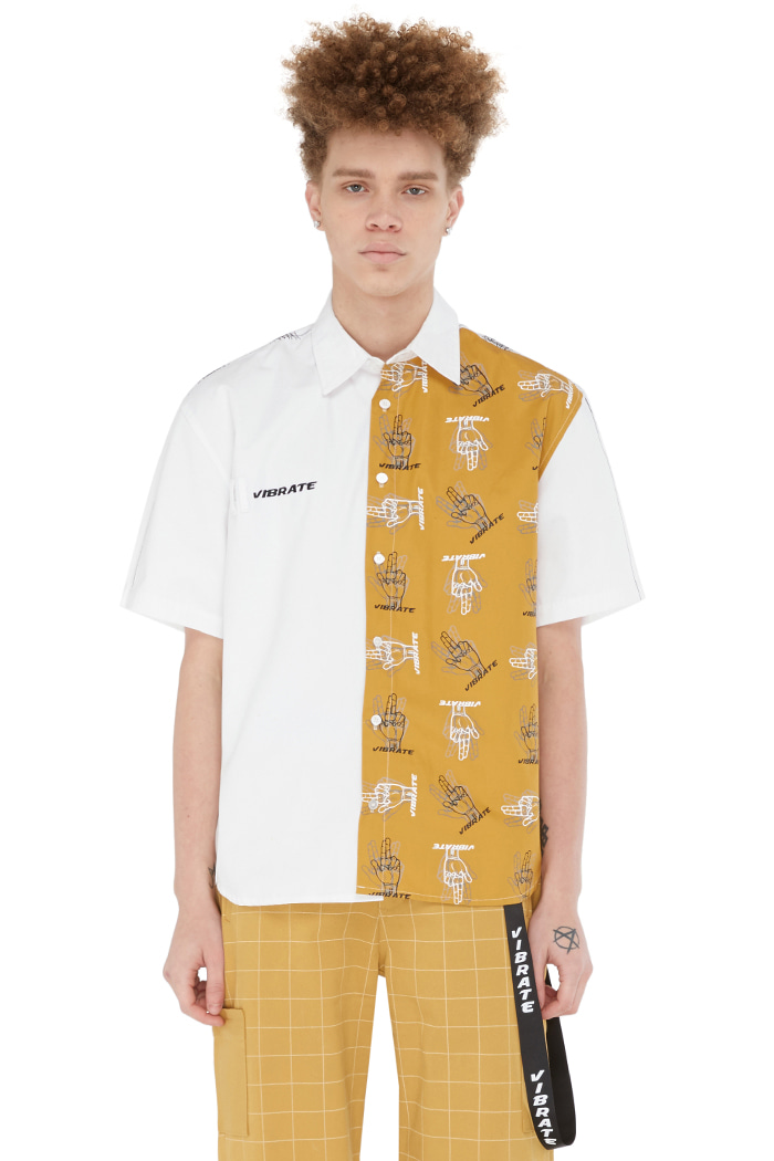 GOLDLINE FINGER PRINTED SHIRT (WHITE)