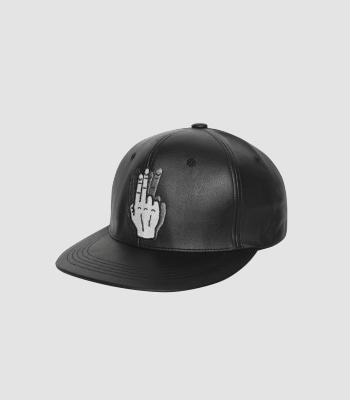HAND SHAKE SIGN BASIC SNAPBACK (LEATHER BLACK)