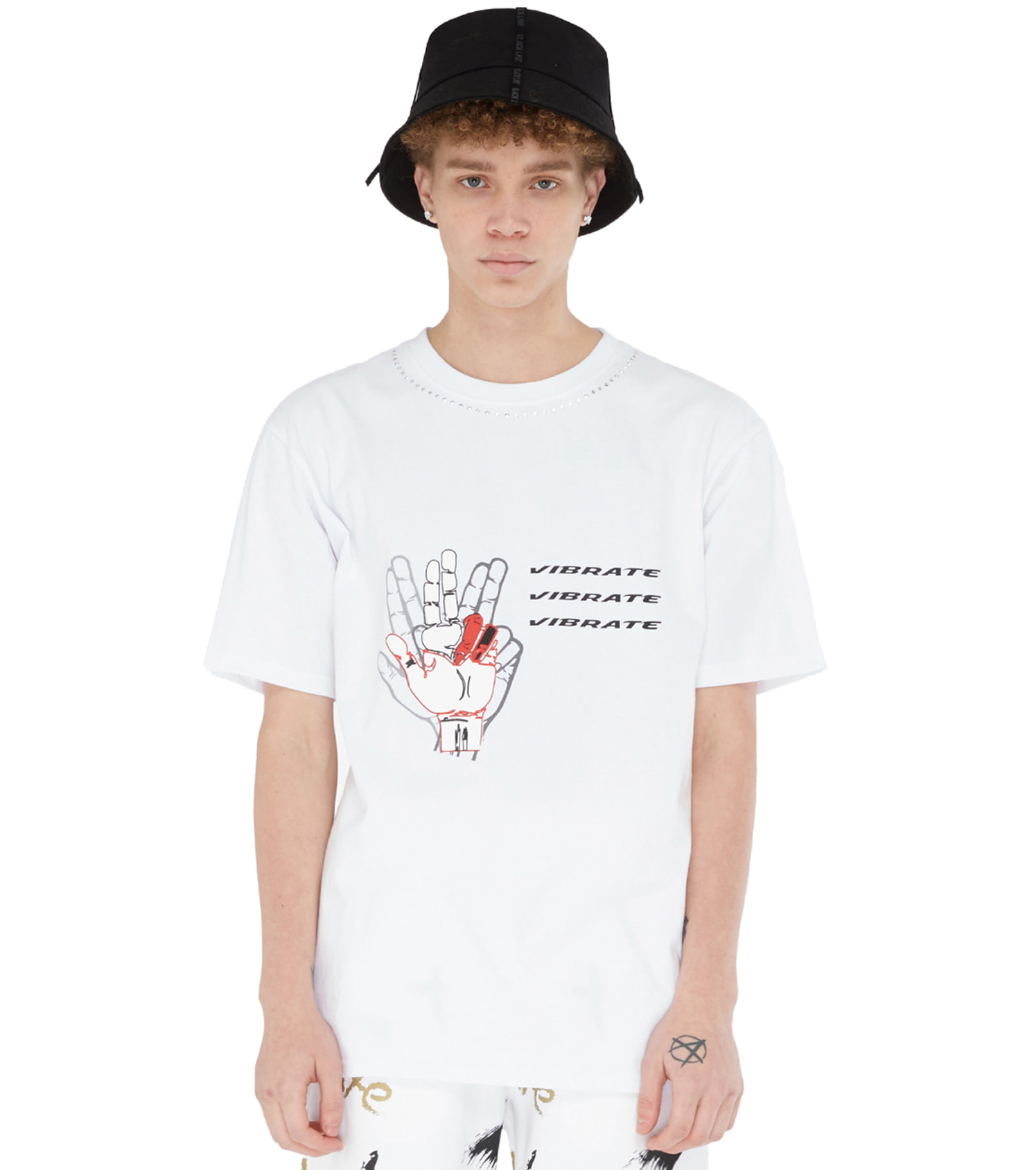 BACK LETTERING HOTFIX T-SHIRT (WHITE)