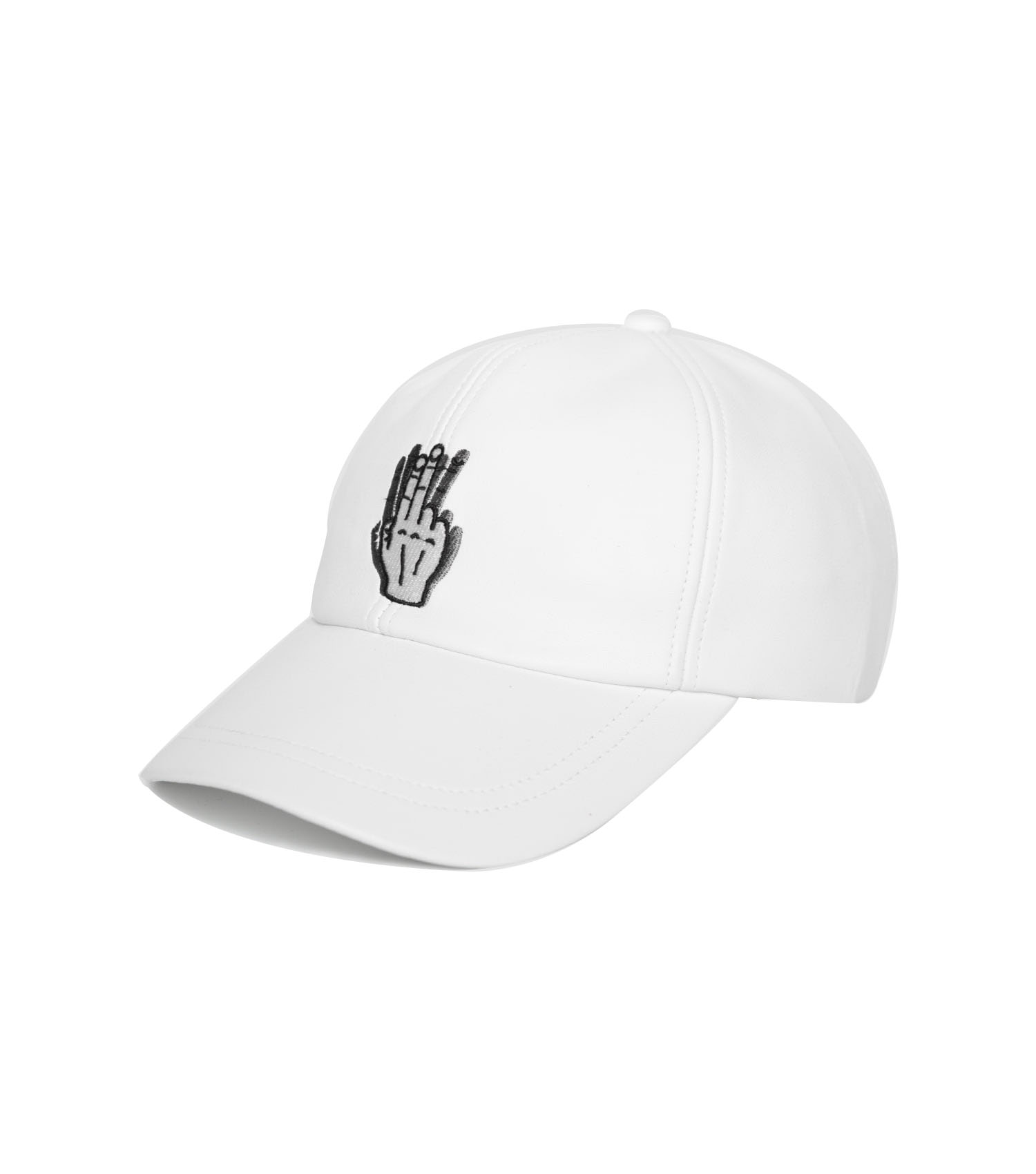 HANDSHAKE LEATHER BALL CAP (WHITE)